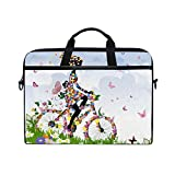 LIUBT Fairy Girl Butterfly Floral Bicycle Laptop Shoulder Messenger Bag Computer Briefcase Business Notebook Sleeve Cover Carrying Handle Bag for 14 inch to 15.6 inch