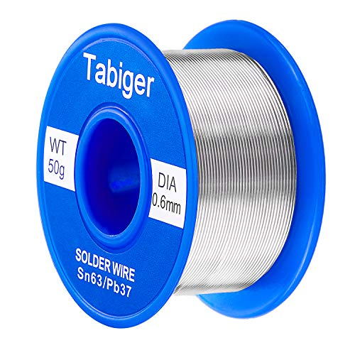 (Tabiger 63-37 Rosin Core Solder Wire for Electrical Soldering and DIY (0.6mm 50g)-with Extra 2% Rosin)