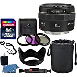 Canon EF 50mm f/1.4 USM Lens + Neoprene Soft Lens Pouch + Transcend 32GB Card + 3 Piece UV Filter Kit 58mm + Tulip Lens Hood 58mm + Cleaning Kit + Cleaning Pen + Lens Cap Holder - Deluxe Lens Bundle