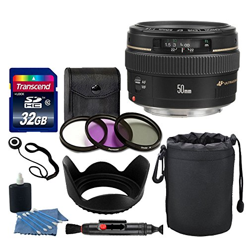 Canon EF 50mm f/1.4 USM Lens + Neoprene Soft Lens Pouch + Transcend 32GB Card + 3 Piece UV Filter Kit 58mm + Tulip Lens Hood 58mm + Cleaning Kit + Cleaning Pen + Lens Cap Holder - Deluxe Lens Bundle
