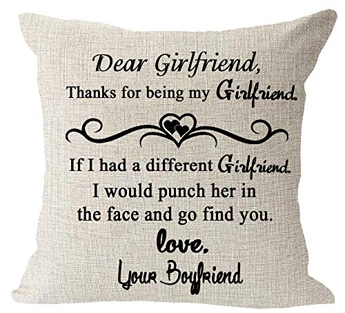 Dear Girlfriend Punch Her in The Face and Go Find You Love Your Boyfriend Gift Cotton Linen Square Throw Waist Pillow Case Decorative Cushion Cover Pillowcase Sofa 18x18 inches