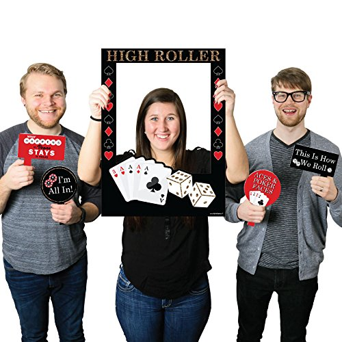Las Vegas - Casino Themed Party Photo Booth Picture Frame & Props - Printed on Sturdy Plastic Material (Las Vegas Themed Party)