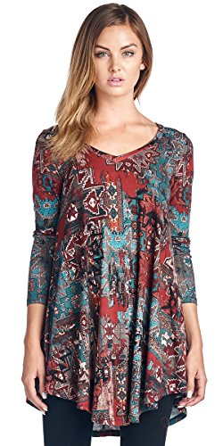 Popana Womens Tunic Tops For Leggings   Long Sleeve Vneck Shirt   Regular And Plus Size   Made In Usa 1X St17