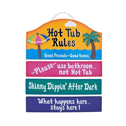 Burkewrusk Wooden Outdoor Hot Tub Sign Funny Wooden Sign