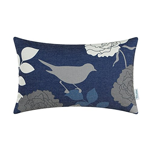 CaliTime Canvas Bolster Pillow Cover Case for Couch Sofa Home Decor, Floral Cartoon Shadow Bird Silhouette 12 X 20 Inches Navy Ground Grey Bird (Accent For Blue Bed Pillows)