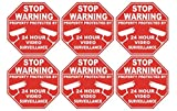6 Pcs Important Unique Stop Warning Property Protected By 24 Hour Video Surveillance Security Sticker Sign Business Camera Decal Window Premises Tools Fence Signs Doors Home Trespassing Size 3''x3''