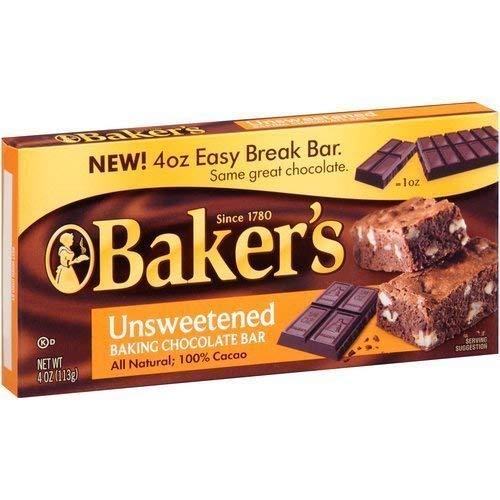 Baker's Unsweetened Baking Chocolate Bar, 4 Oz (Pack of 2) KOSHER OKd (Bar Baker A)