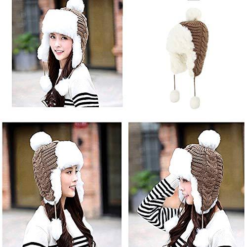 ZHNA Russian Women Bomber Hats Pompom Fleece Earflaps Cap Faux Fur Ball Winter Hat (Black,One Size) ()