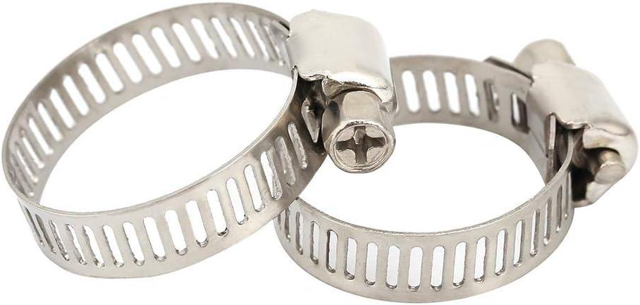32mm-44mm Garosa 10pcs Colliers de Serrage en Acier Inoxydable 304 de diff/érentes Tailles de kit de Serrage de Colliers de Serrage /à vis sans Fin de Taille pour la Connexion de Flexibles dair