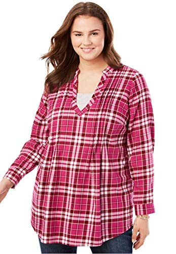 Woman Within Plus Size Pleat Front Notch Neck Plaid Flannel Tunic