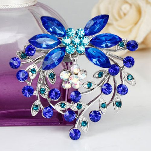 Buyinhouse New Stylish Ladies Girls Silver Plated Flashing Blue Rhinestones Crystals Flower Petals Leaves Brooches Pin Clips