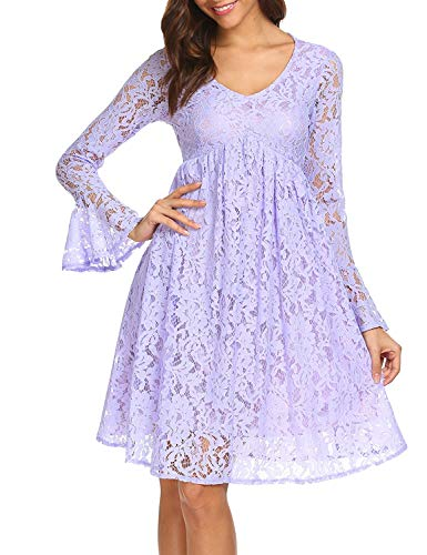 SE MIU Women's V-Neck Flare Sleeve Floral Lace Empire Waist Party Pleated Dress Violet Purple M