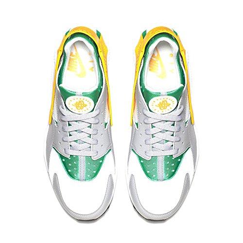 Nike Mens Air Huarache Lucido Verde / Università Oro-lupo Grigio In Pelle Misura 8.5