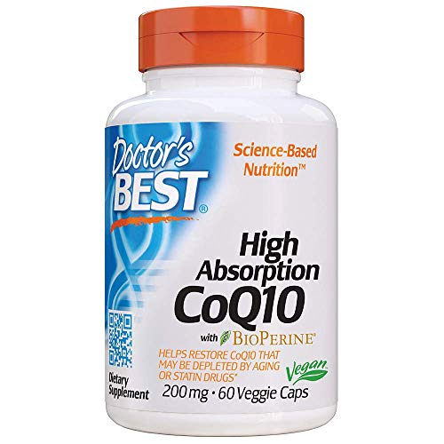Doctor's Best High Absorption CoQ10 with BioPerine, Gluten Free, Naturally Fermented, Vegan, Heart Health and Energy Production, 200 mg 60 Veggie Caps ()