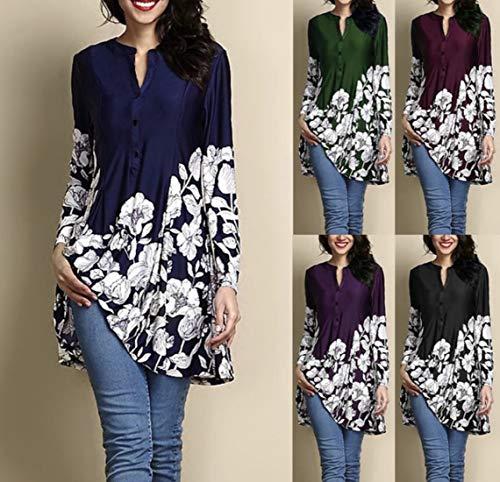 Tees Manches Automne Femmes Hauts Tops Long et JackenLOVE Jumpers Printemps T Shirts Longues pissure Fashion Imprime Blouse Tunique Chemisiers Casual Noir wEqv6Xp