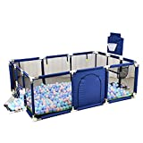 Large Space Baby Play Yard - Portable Indoor Outdoor Baby Playpen Toddlers Children Safety Ball Pit Fun Activities Popular Toys (Not Includes Balls) (Blue)