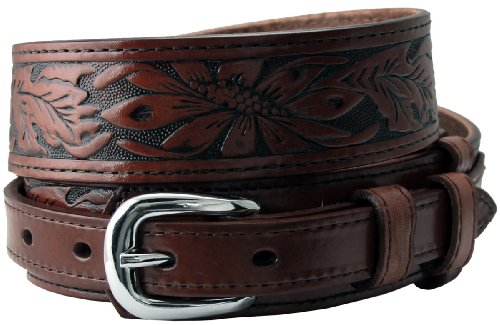 Carson's Western Tooled Genuine Leather Casual Jean Ranger Belt (40, Brown) (Ranger Floral Belt)