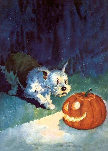 Download Dog startled by jack-o-lantern - Halloween Greeting Card pdf
