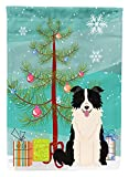 Caroline's Treasures BB4243CHF Merry Christmas Tree Border Collie Black White House Flag, Large, Multicolor For Sale