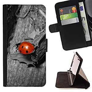 For LG G2 D800 Ladybug Gray Red Cute Bug Macro Close-Up Style PU Leather Case Wallet Flip Stand Flap Closure Cover