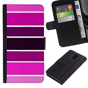 TORNADOCOVER Diseño Trasera Imagen Cuero Voltear Tarjeta Ranura Duro Funda Negro Borde Carcasa Case Cover Skin para Smartphone Samsung Galaxy Note 4 SM-N910 - muestra de color rosa tonos púrpura fucsia