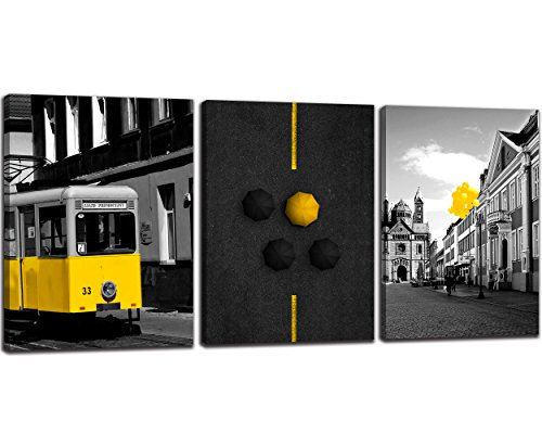 NAN Wind 3 Pcs Canvas Prints London Street Yellow Bus England City Buildings Yellow Balloons Umbrella In Black and White Paintings Wall Art Cityscape on Canvas Stretched and Framed for Home Decor