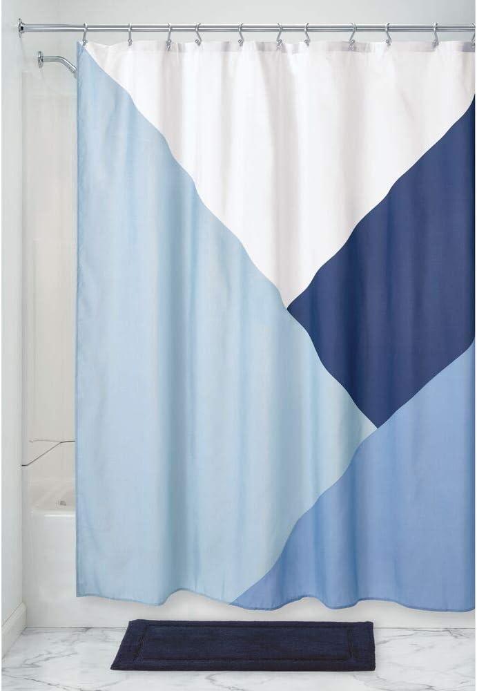 iDesign Colorblock Doccia 183 cm x 183 cm Tenda per Vasca da Bagno di Grandi Dimensioni in Poliestere Blu