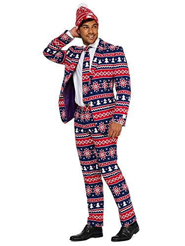 OppoSuits Christmas Suits for Men in Different Prints - Ugly Xmas Sweater Costumes Include Jacket Pants & Tie + Free Beanie]()