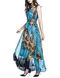 Wantdo Women's Peacock Printed Bohemian Summer Maxi Dress Plus size