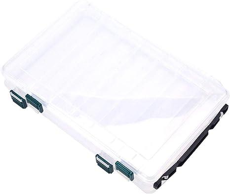 LYXMY Señuelo Pesca Caja Abrochado Portátil Doble Capa Compartimento PVC Gran Capacidad Rápido Drenaje con Asa Cebo Almacenaje Protector Organizador Ropa Resistente Transparente - L: Amazon.es: Deportes y aire libre