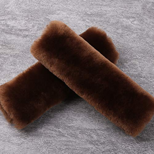2 Pack Automotive Authentic Sheepskin Car Seat Belt Pads, Soft Shoulder Pad, Neck Cushion Protector, Genuine Natural Merino Wool (Saddle Brown)