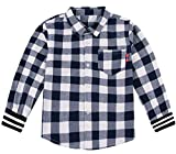 CMCYY Boys Cotton Long Sleeve Curved Button up Checkerboard Tops Shirts White 7/8