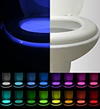 [2-Packs] Vintar 16-Color Motion Sensor LED Toilet Night Light, 5-Stage Dimmer, Light Detection