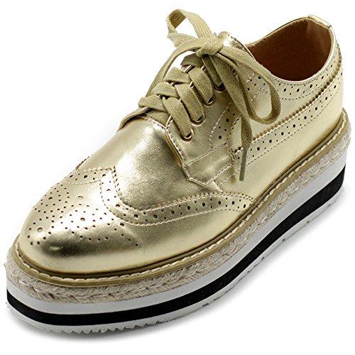 Ollio Femmes Chaussures Classique Aile Pointe Dentelle Plate-forme Talon Moyen Oxfords Or
