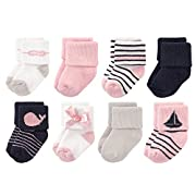 Luvable Friends Baby 8 Pack Newborn Socks, Girl Sailboat, 0-6 Months