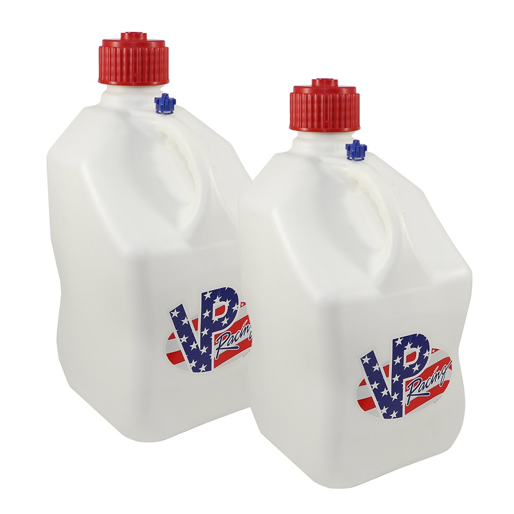 2 Pack VP 5 Gallon Square White Patriotic Racing Utility Jugs by VP Fuels