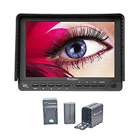 Bestview S7 7 Inch On-Camera Field Monitor 1920x1200 HD 4K DLSR Monitor for Canon Nikon Sony Panasonic Olympus DSLR Cameras with 2200mA Battery, Battery Charger and AA Battery Pack AC Input (Sevenoak Viewfinder)