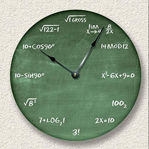 Math Wall Clock Green Chalkboard Image Teacher Student Gift