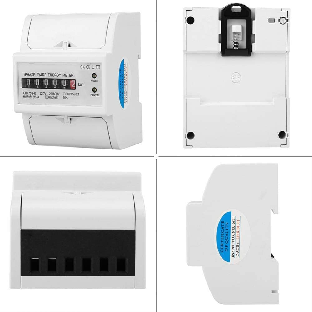 A 5 Compteur d/Énergie 1PC VIFER Digital 1-Phase 2 Wire 4P DIN-Rail Electric Meter Electronic KWh Meter 220V 30