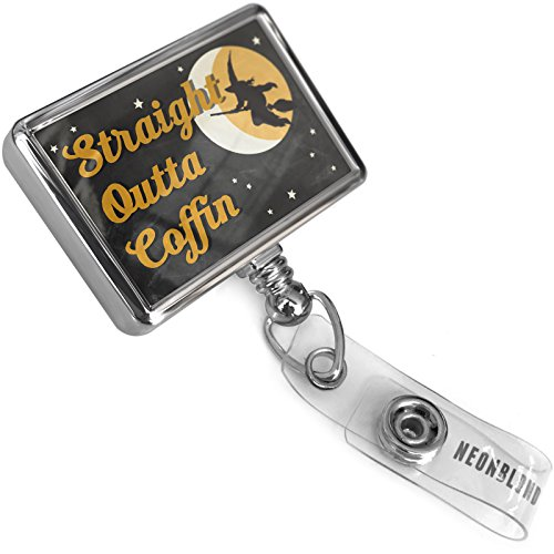 Retractable Plastic ID Badge Reel Straight Outta Coffin Halloween Witch with Bulldog Belt Clip On Holder -