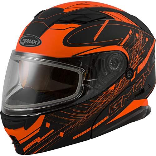 GMAX MD-01 Adult Wired Snowmobile Helmet - Black/Hi-Vis Orange/X-Large