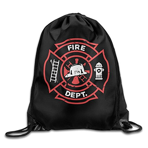 Distressed Firefighter Drawstring Pack Beam Mouth Gym Sack Rucksack Shoulder Bags For Men And Women