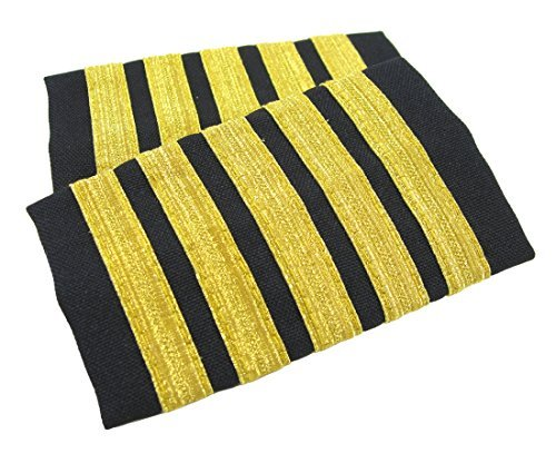 Gold Pilot - Egolets, 5 Stripe Novelty Pilot Epaulets (Gold Metallic on Navy)