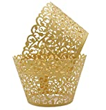 KEIVA Pack of 100 Vine Cupcake Holders Filigree Artistic Bake Cake Paper Cups Vine Designed Decor Wrapper Wraps Cupcake Muffin Paper Holders for Wedding Party Birthday Decoration (100, Gold)