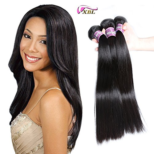 Price comparison product image Xblhair Brazilian Virgin Hair 3 Bundles Straight Weave 7A Grade 100% Unprocessed Remy Human Hair Extensions Natural Color (16 18 20) 100g/pc Total:300g