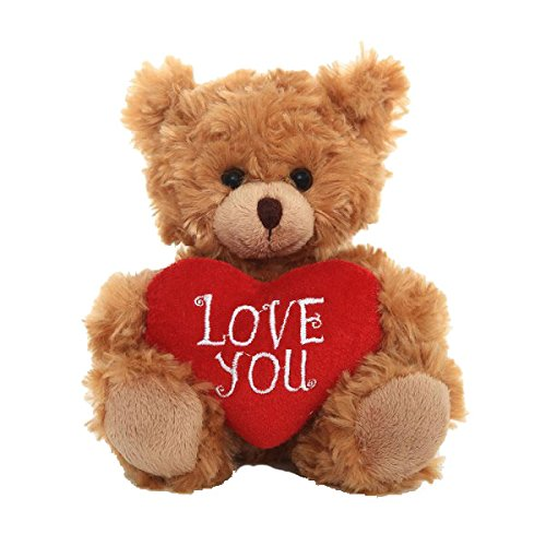 Plushland Adorable Mocha Heart Bear, Valentine Heart Pillow Embroidered Love You for Girls, Boys, Women, Men Mother's Day You Love to (Love You) ()