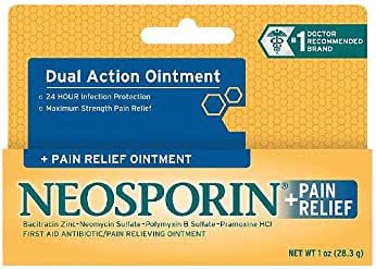 Neosporin + Maximum-Strength Pain Relief Dual Action Antibiotic Ointment with Bacitracin Zinc, 1 oz