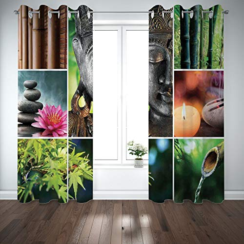 SCOCICI Grommet Blackout Window Curtains Drapes [ Spa Decor,Oriental Culture Mosaic Meditation Theme Aromatic Candles Water Sounds Nature] Living Room Bedroom Kitchen Cafe