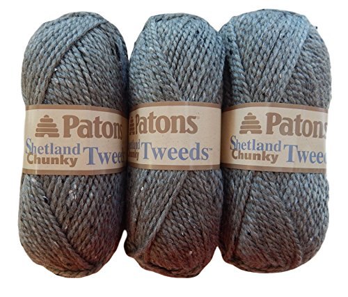 Patons Shetland Chunky Tweed Yarn ( 3 Pack) Bulky Acrylic Wool Blend ( Pewter)