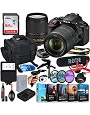 Nikon D5600 DSLR Camera with 18-140mm Lens MFR #1577 Video Makers Bundle with Rode Video Mic Go + 64GB Memory + Flash, Shoulder Bag, Grip Tripod, HD Filter, Video/Photo Editing Software Package & More